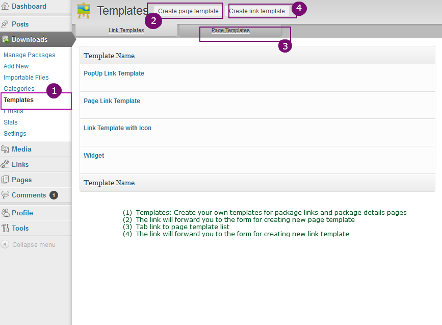 integrated templates wordpress download manager