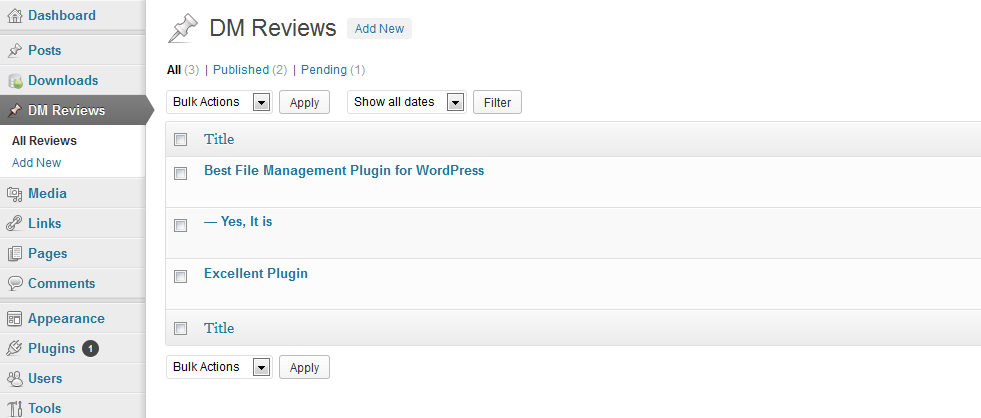 WordPress File Download Management Plugin - Rating and Review Add-on Admin