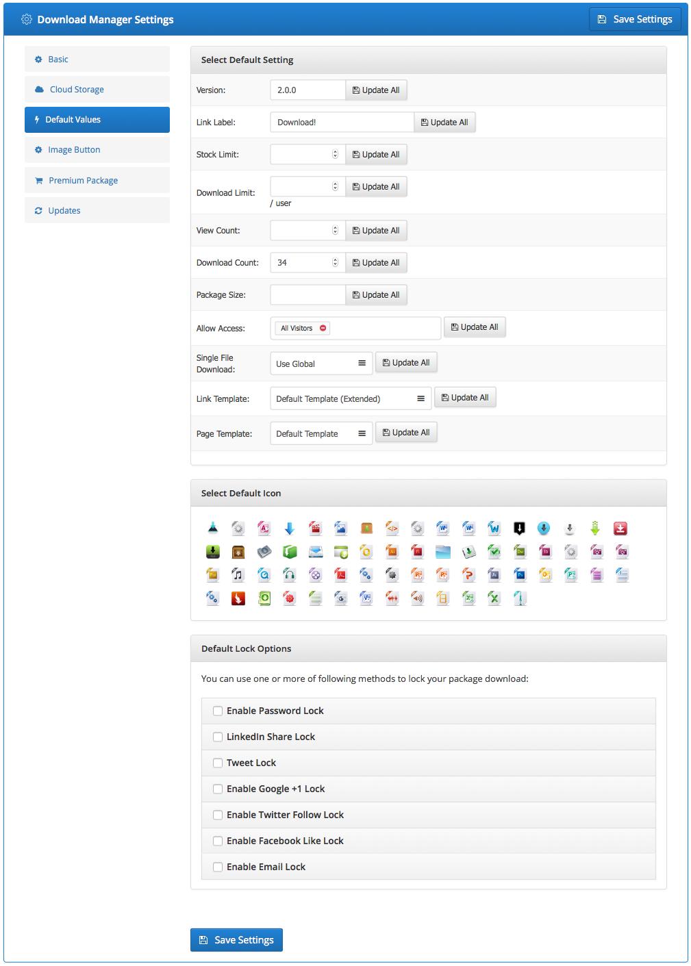 wordpress download manager default values addon