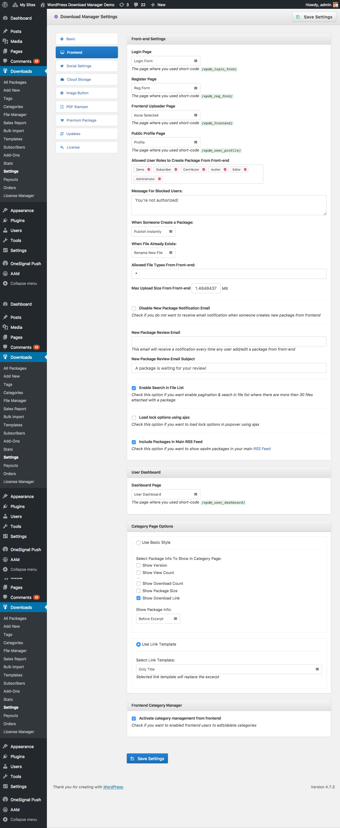 front end ui settings wordpress manager wordpress manager frontend settings
