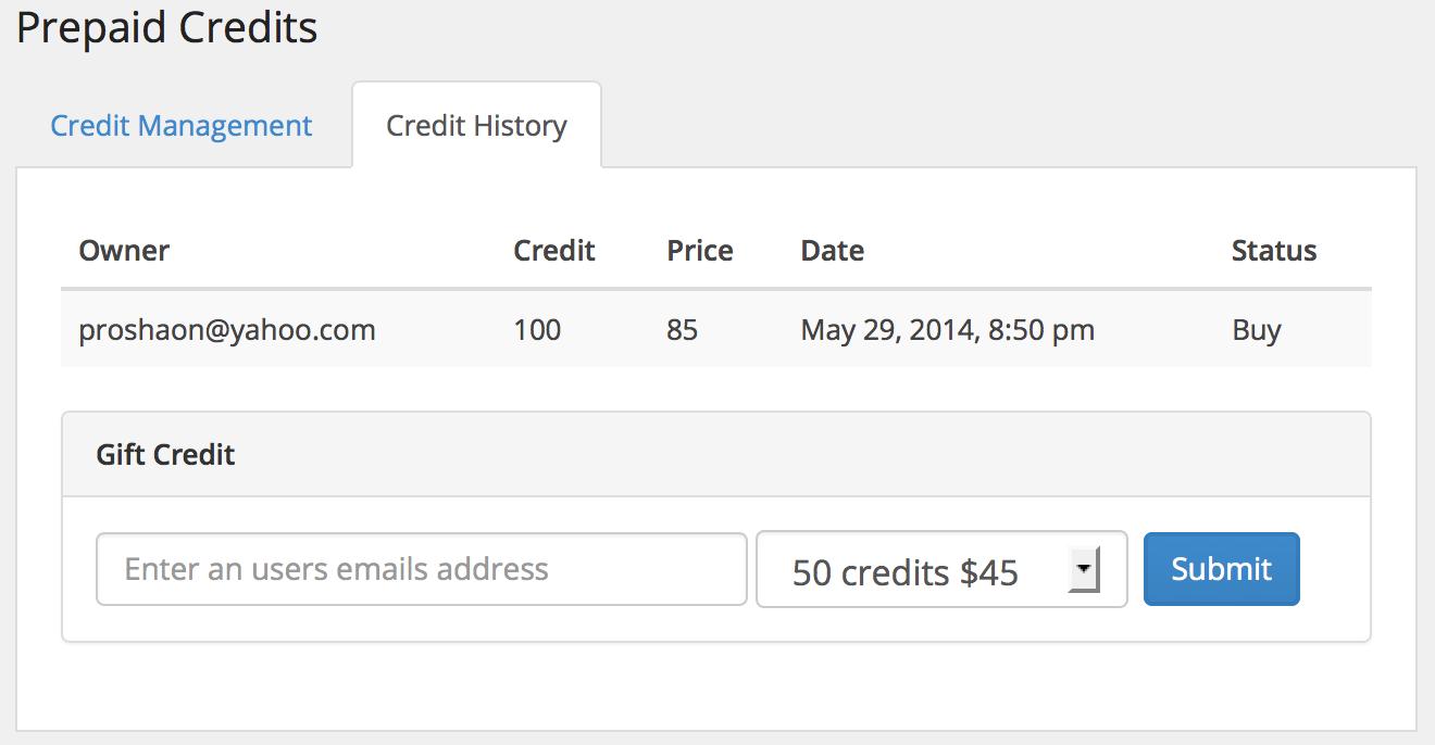 Admin: Credit History