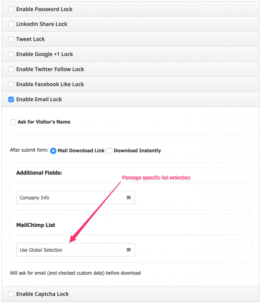 package specific MailChimp Subscription list selection