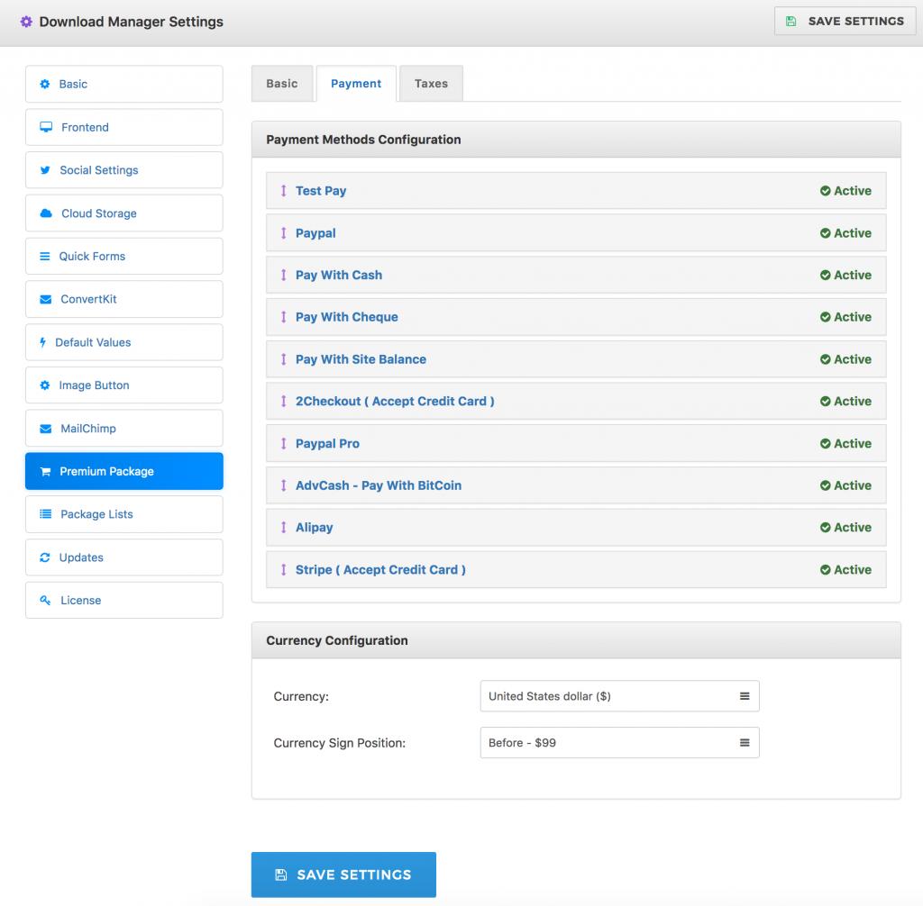 Premium Package Payment Gateway Settings