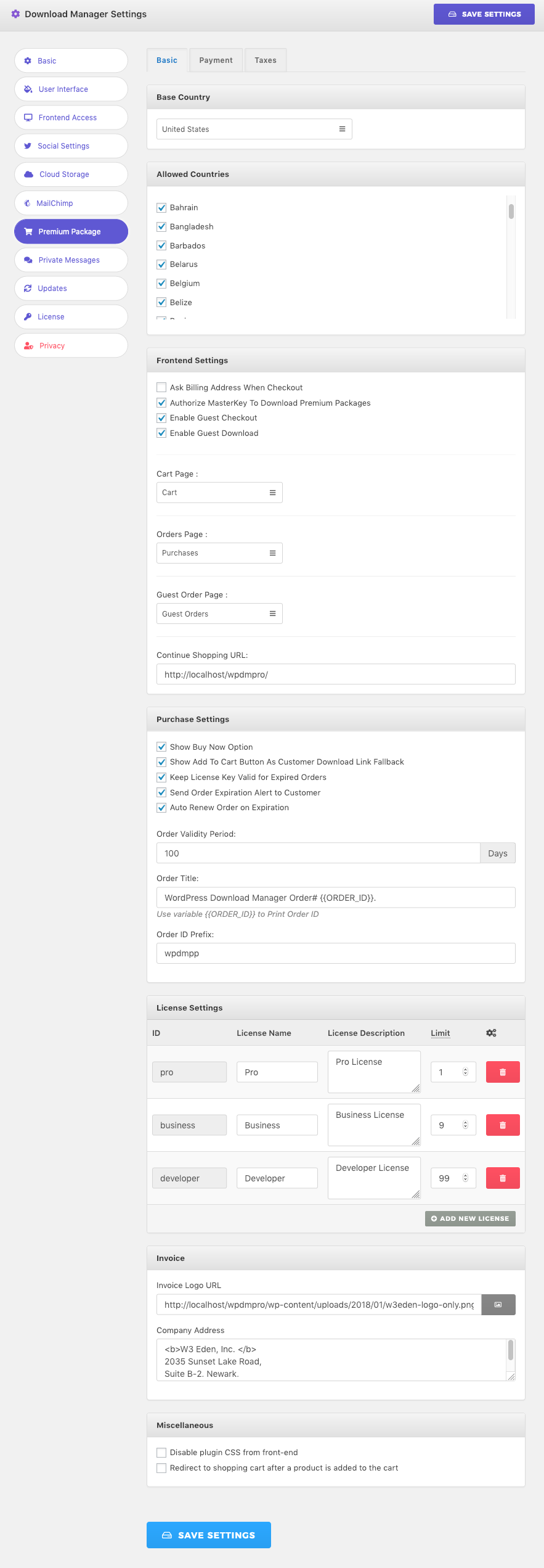 Premium Packages Settings - WordPress Download Manager