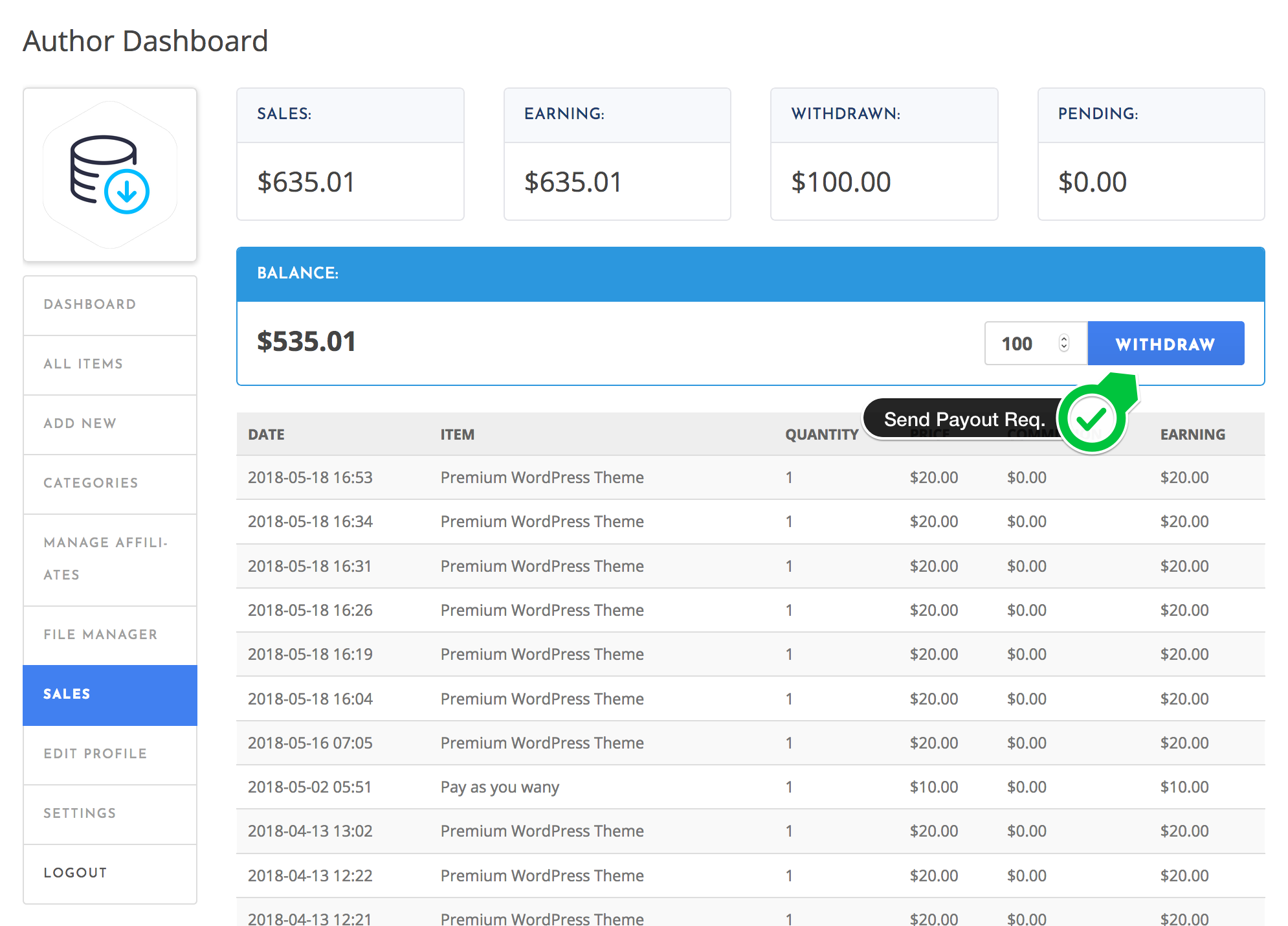 Send Payout Request - Author Dashboard - WordPress Download Manager