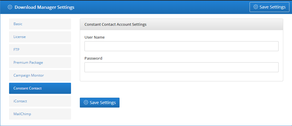 Constant Contact - Settings 1