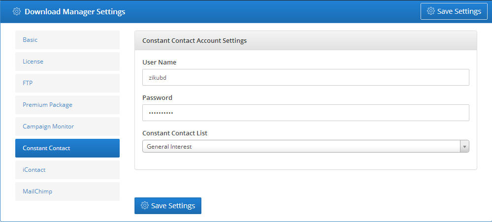 Constant Contact - Settings 2