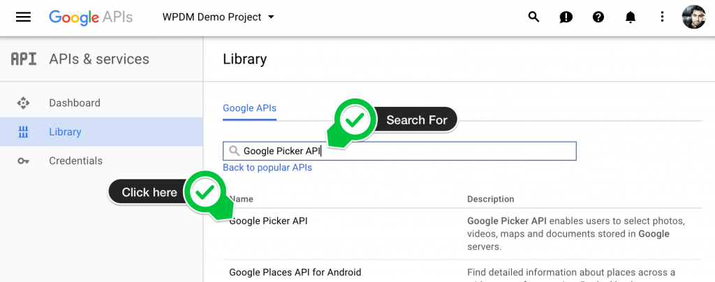 Search Google Picker API