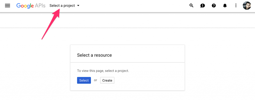 Select Google API Project